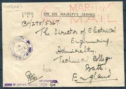 1945 Maritime Mail,British Fleet Mail,Censor Cover - Bath Technical College.Coastal Forces Captain Office (HMS Amzari?) - 1902-1951 (Rois)