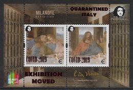 Finland. Peterspost. Quarantined Italy. COVID-2019. Leonardo Da Vinci. Perforated Block With Overprint - Medicine