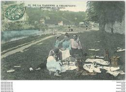 K. 94 LA VARENNE A CHAMPIGNY. Déjeuner Sur L'Herbe 1907 Avec Chiens. Pique Nique En Couleur - Champigny Sur Marne