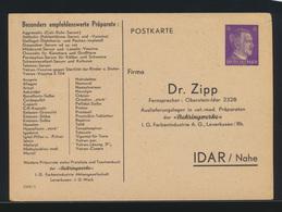 Deutsches Reich Privatganzsache PP 156 B Dr. Zipp Idar Nahe DV 1368 1 Bei Frech - Germany