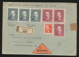 Besetzung Böhmen & Mähren Nachnahme R Brief Pardubitz Pardubice Nach Köln - Occupation 1938-45