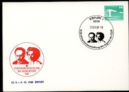 DDR PP18 D2/013 Privat-Postkarte LUXEMBURG LIEBKNECHT Erfurt Sost.1988  NGK 4,00 € - [6] Oost-Duitsland