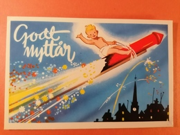 Old Vintage Beautiful Color Greeting PC Godt Nyttår The Child Flies On Raceta Raketa - New Year