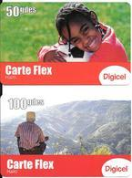 2 CARTES- PREPAYEES-HAITI-2011-50/100 Gdes-GSM-DIGICEL-CARTE FLEX-GRATTE-TB - Haiti