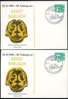 DDR PP18 D2/016 2 Privat-Postkarte VARIANTEN ERNST BARLACH Güstrow Sost.1988 - [6] Oost-Duitsland