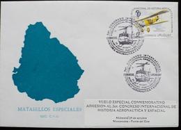 1997 URUGUAY Postmark To V190 FLIGHT VUELO MONTEVIDEO-Punta Del Este HELICOPTERO Hubschrauber HELICÓPTERO AERONAUTICA - Uruguay