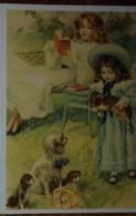 Petit Calendrier Poche 1994 Illustration Aquarelle Enfants Fillettes Chiens Robe Chapeau...- Nonancourt - Calendars