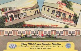 320259-Idaho, Montpelier, Chief Motel & Mobilgas Gas Station, Curteich No 2C-H755 - Etats-Unis