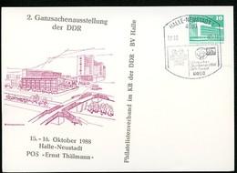 DDR PP18 D2/017 Privat-Postkarte ZUDRUCK VERSCHOBEN Halle-Neustadt Sost. 1988 - [6] Oost-Duitsland
