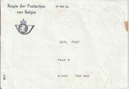 """BSD / FBA : Bf """"REGIE DER POSTERIJEN""""  """"HERSTAL 5.6.85"""" Naar DIR. POST /Post.9"""" Met Op Verso Een Bruine Plakband - Postmark Collection"""