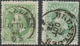[46651]TB//O/Used-N° 30, Deux Exemplaires Obl Centrale DC Type C ?Bruxelles' Deux Types Différents - 1869-1883 Leopold II