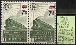 [847791]B/TB//**/Mnh-c:20e-France 1945 - N° 228A, CP, Paire, 1 Dent Courte, Trains, Transports - Colis Postaux