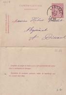 DDW763 - Entier Carte-Lettre Type TP 46  LAROCHE 1890 Vers DINANT - Origine Manuscrite BERISMENIL - Cartas-Letras