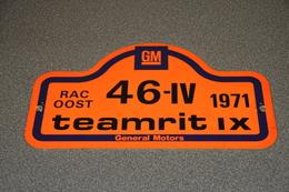 Rally Plaat-rallye Plaque Plastic: 9e Teamrit 1971 GM General Motors RAC-oost - Plaques De Rallye