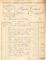 MEAUX FACTURE 1940 EMILE TESTARD ENTREPRISE DE SERRURERIE 7 RUE GAMBETTA - France