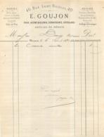 MEAUX FACTURE 1880 E. GOUJON 40 RUE SAINT NICOLAS FERS QUINCAILLERIE SERRURERIE - France