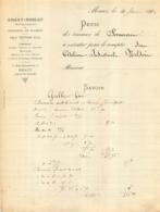 MEAUX FACTURE 1912  EMERY NOBLET ENTREPRENEUR DE SERRURERIE E.  TESTARD  7 RUE GAMBETTA - France