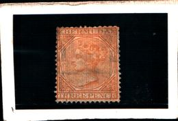 93789) BERMUDA - 1865-REGINA VITTORIA  3P.GIALLO SCURO-USATO-N.3 - 1858-1960 Colonia Britannica