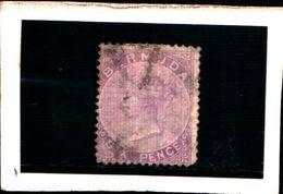 93790) BERMUDA - 1865-REGINA VITTORIA  6 P.VIOLETTO-USATO-N.4 - 1858-1960 Colonia Britannica