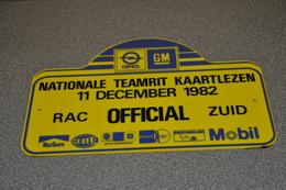 Rally Plaat-rallye Plaque Plastic: Nat. Teamrit OFFICIAL 1982 RAC-zuid Opel-GM-marlboro-hella-michelin-mobil - Rallye (Rally) Plates