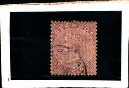 93792) BERMUDA - 1865-REGINA VITTORIA 6 P. VVIOLETTO-USATO-N.7 DENT. 14X12.5 - 1858-1960 Colonia Britannica