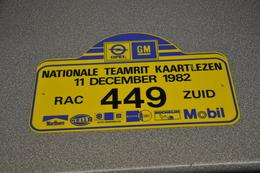 Rally Plaat-rallye Plaque Plastic: Nat. Teamrit 1982 RAC-zuid Opel-GM-marlboro-hella-michelin-mobil - Rallye (Rally) Plates