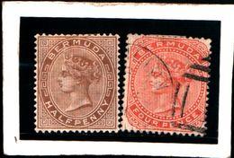 93793) BERMUDA - 1880-REGINA VITTORIA 1/2 P. + 4 P.-SG-USATO-N.15-16 DENT. 14 - 1858-1960 Colonia Britannica