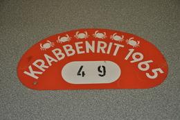 Rally Plaat-rallye Plaque Plastic: Krabbenrit 1965 Krabbenrijders - Plaques De Rallye