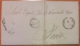 Portugal - COVER (1860) - Cancel: Porto + 102 + Vianna Do Castello - 1855-1858 : D.Pedro V