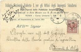 """6958 """" ISTITUTO NAZIONALE UMBERTO I,PER GLI ORFANI DEGLI IMPIEGATI SUBALTERNI..... """"-CART. POST. ORIG.  SPEDITA 1915 - Non Classificati"""