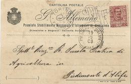 """6959 """" G. ALLEMANO-PREMIATO STAB. MECCANICO D'ISTRUMENTI DI PRECISIONE-TORINO""""-CART. POST. ORIG.  SPEDITA 1903 - Non Classificati"""