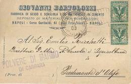 """6960 """" GIOVANNI BARTOLOZZI-FABBRICA GESSO E SCAGLIOLA E MATTONELLE IN CEMENTO-NAPOLI""""-CART. POST. ORIG.  SPEDITA 1903 - Non Classificati"""