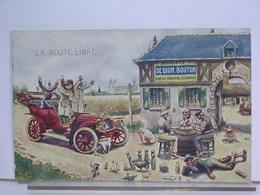 PUBLICITE DE DION BOUTON - LA ROUTE LIBRE - ILLUSTRATION ALBERT BURTS - AUTOMOBILE - CHIEN - COCHON - QUILLES - CARTES - Turismo