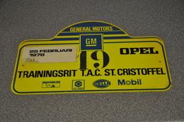 Rally Plaat-rallye Plaque Plastic: Trainingsrit Tilburgse Automobielclub 1977-1978 Opel-GM General Motors Michelin-hella - Rally-affiches