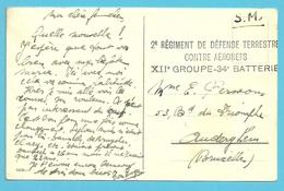 Kaart Stempel 2° REGIMENT DE DEFENSE TERRESTRE / CONTRE AERONEFS / XII° GROUPE-34° BATTERIE - Postmark Collection