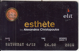 GREECE - BLack Opium(Elit), Esthete Member Card, Used - Autres Collections