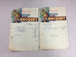 Lot De 2 X Authentique Et Ancienne Facture Vintage Moutarde Bocquet Année 50/60 Old Invoice Bild - Factures