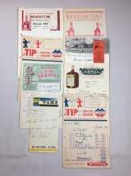 Lot De 8 Authentique Et Ancienne Facture Vintage  Cointreau Suze Bénédictine Le TIP Cassegrain Année 50/60 Old Invoice - Factures
