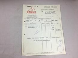 Authentique Et Ancienne Facture Vintage Chocolat Eriam's Fontenay Aux Roses Année 50/60 Old Invoice - Facturen