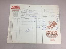 Authentique Et Ancienne Facture Vintage Chocolat Amieux Nantes Année 50/60 Old Invoice - Facturas