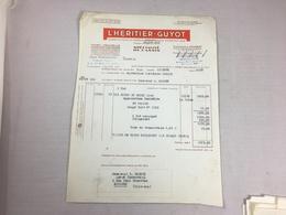 Authentique Et Ancienne Facture Vintage Cassis Grenouille L'Héritier Guyot Dijon Année 50/60 Old Invoice - Facturas