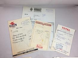 Lot De 4 X Authentique Et Ancienne Facture VintageGarage Huile Renault Igol Total Année 50/60 Old Invoice - Factures
