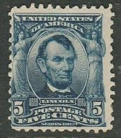 U.S.A., 1903, 5 Cents, Blue, Lincoln, MH *, Gum Thin - United States