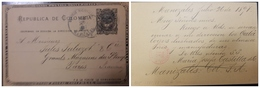 O) 1897 COLOMBIA, COAT OF ARMS 2c - POSTAL STATIONERY FROM MANIZALES TO PARIS, TRANSIT POR BARRANQUILLA - Colombia
