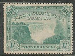 Rhodesia / B.S.A.Co., 1905 Victoria Falls, 1/=, Perf 14, MH *, Thin - Rhodesia Del Sud (...-1964)