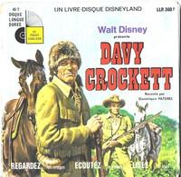 LIVRE DISQUE VINYLE 45 TOURS LONGUE DUREE  DAVY CROCKETT WALT DISNEY ( DOMINIQUE PATUREL ) EDITIONS DISNEYLAND RECORD - 45 T - Maxi-Single