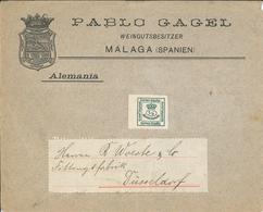 Pablo Gagel Weingut Malaga - Illustriertes Kuvert - Brief Nach Düsseldorf - Um 1872 - 1872-73 Königreich: Amédée I.