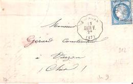 Cher :- Convoyeur Station BOURGES Ligne SAIN.V. Au Dos Bureau De Passe 4201 - Marcophilie (Lettres)