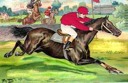 Pferde, Pferderennen, AK Mit Seidenapplikation, Sign. Arthur Thiele, 1907, In Den USA Hergestellt - Thiele, Arthur