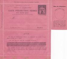20795# ENTIER POSTAL CARTE LETTRE CHAPLAIN CARTE PNEUMATIQUE AVEC REPONSE PAYEE 1 Franc NOIR SUR ROSE L13 NEUF - Pneumatiques